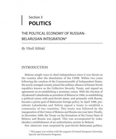 The Political Economy of Russian-Belarusian Integration