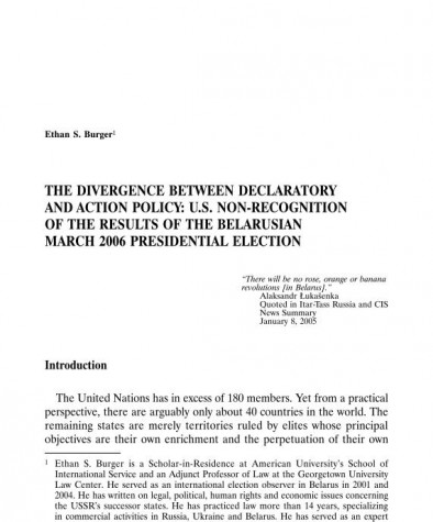 The Divergence between Declaratory and Action Policy: U.S. Non-Recognition of the Results of the Belarusian March 2006 Presidential Election