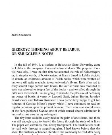 Giedroyc Thinking about Belarus, or Smuggler's Notes