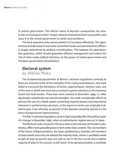 The Nature of Authoritarian Regime in Belarus: Electoral system