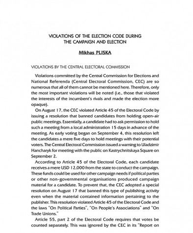 Violations of the Election Code During the Campaign and Election