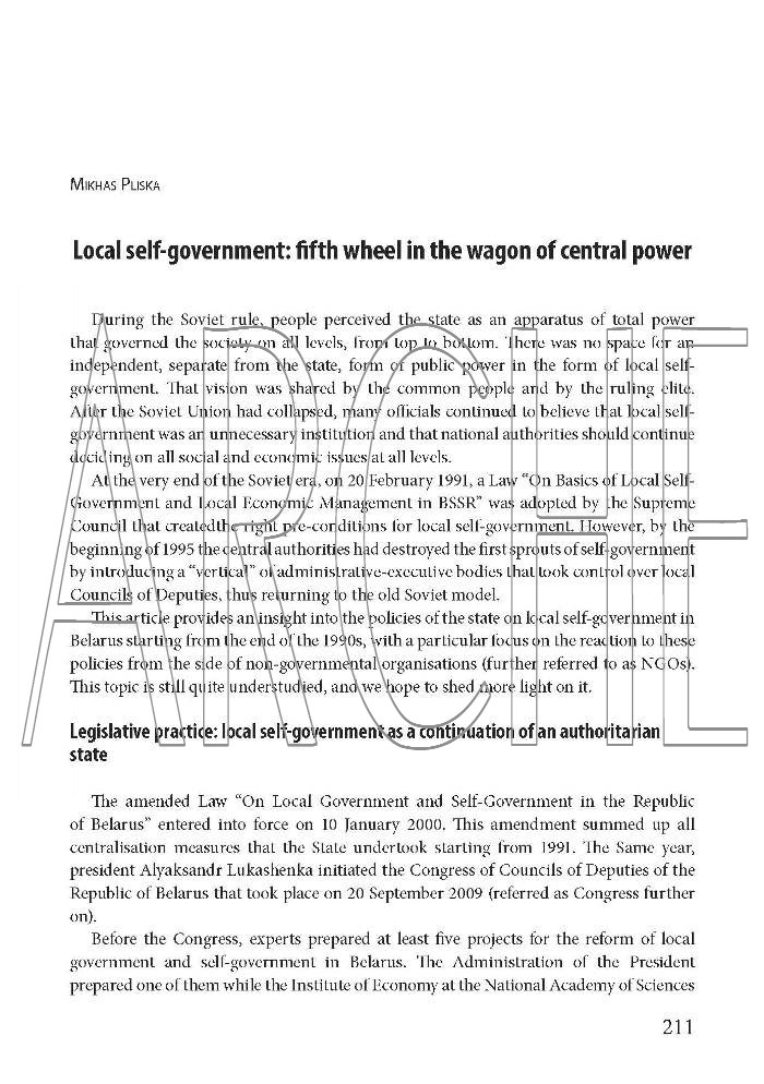 Local self-government: fifth wheel in the wagon of central power